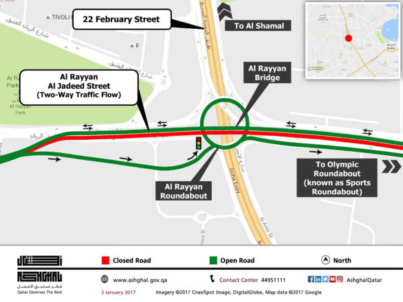 Al Rayyan Road closure map
