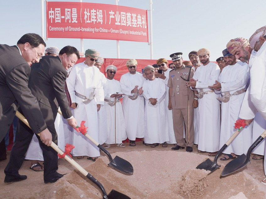 H.E. Wang Heshan Vice Governor Ningxia 2nd left Sayyid Taimur al-Said 2nd right dig the first hole for the foundation stone of China Oman Ind Park