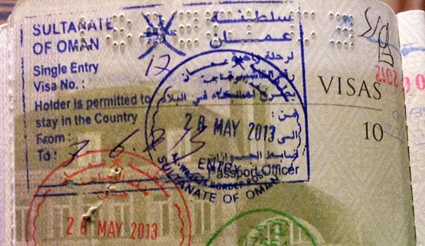 Oman visa stamp