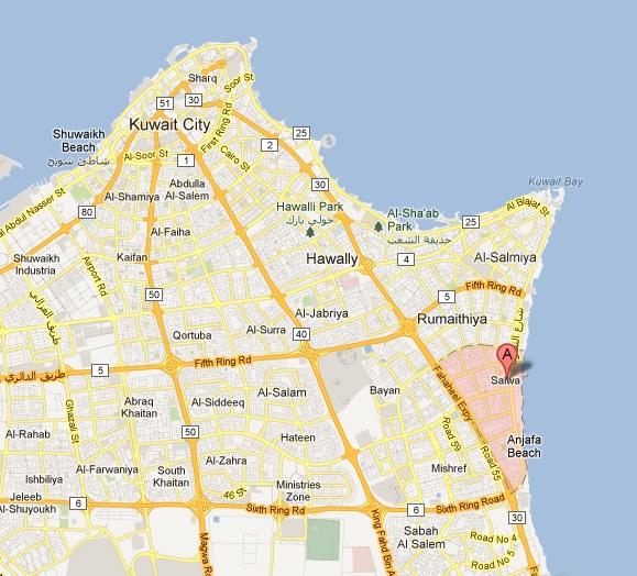 salwa kuwait map