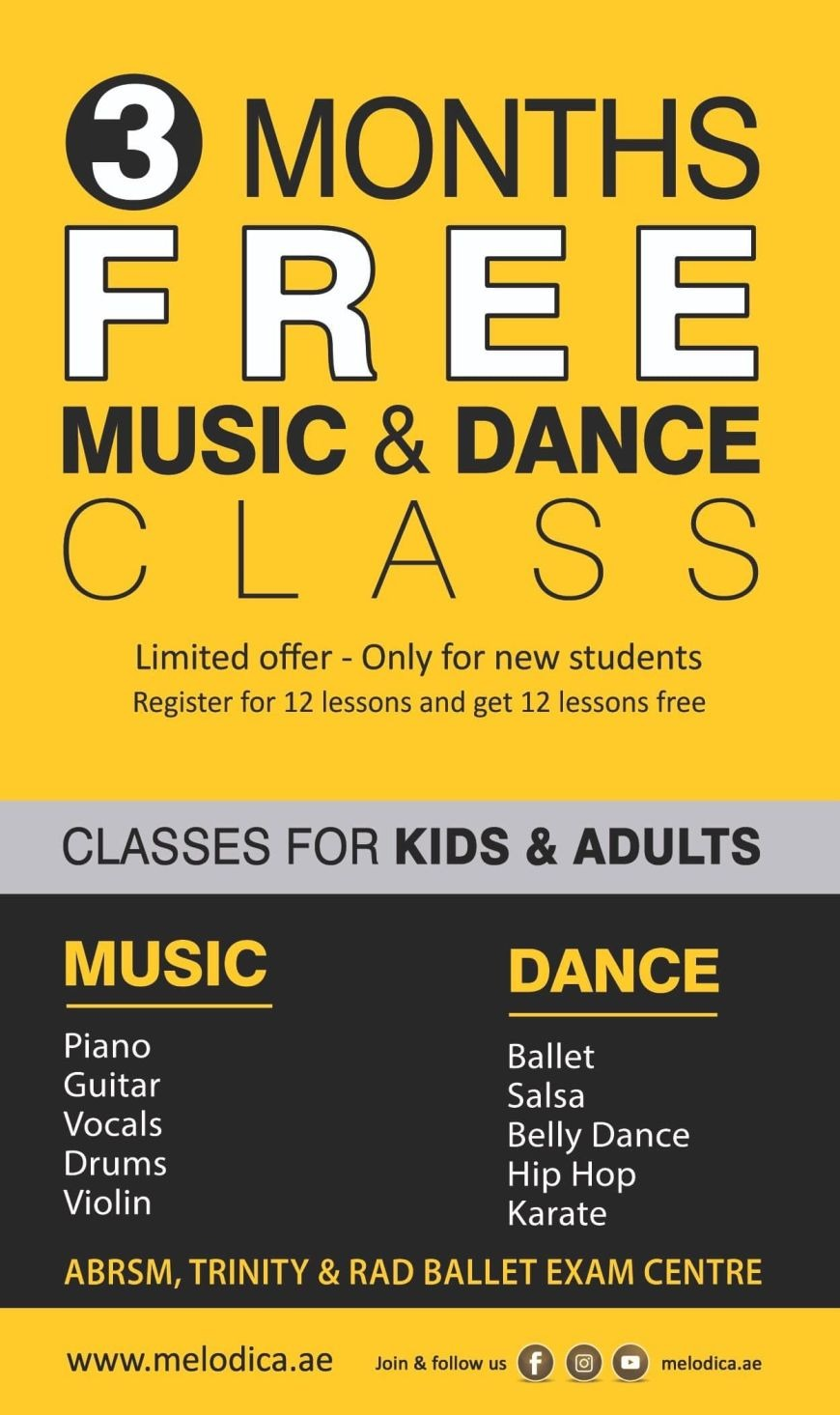 Offer: 3 Months Free Music and Dance Classes at Melodica Institute in Dubai