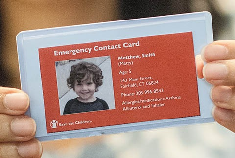 8. Emergency card with contact information