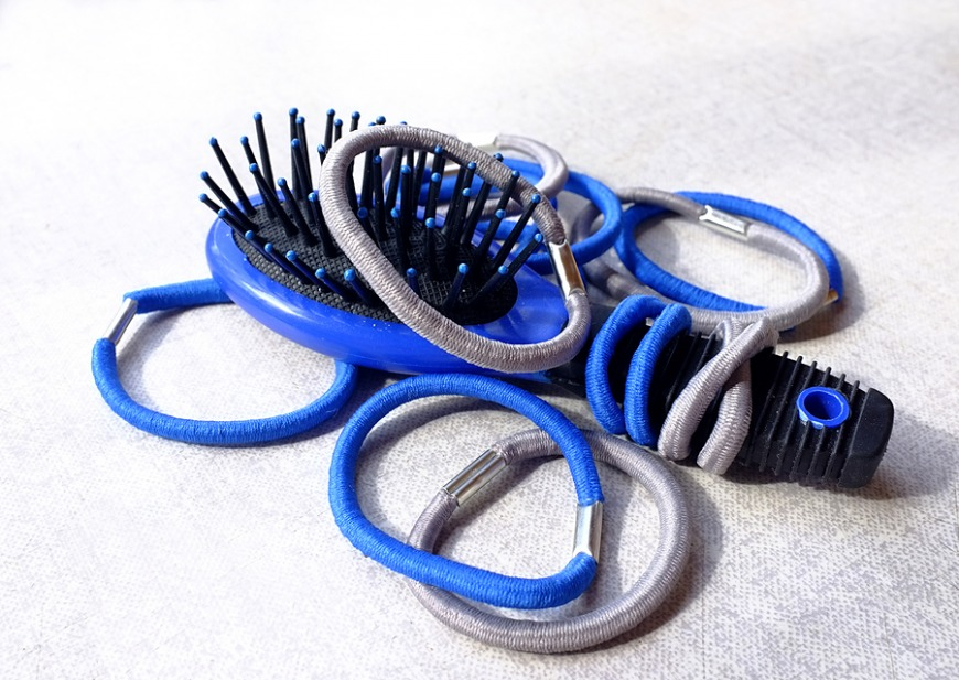 12. Hair-tie and 13. Spare hair brush