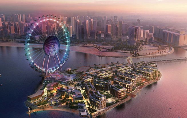 The Bluewaters Island will be home to the world's largest Ferris wheel, which will be overlooked by the JBR