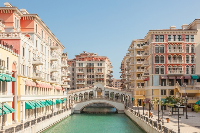 The Qanat Quartier Urbanization with Italian style architecture at The Pearl.