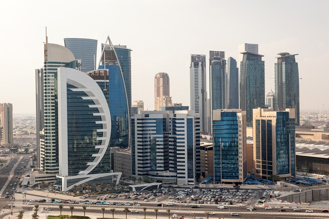 View over Doha downtown West Bay.