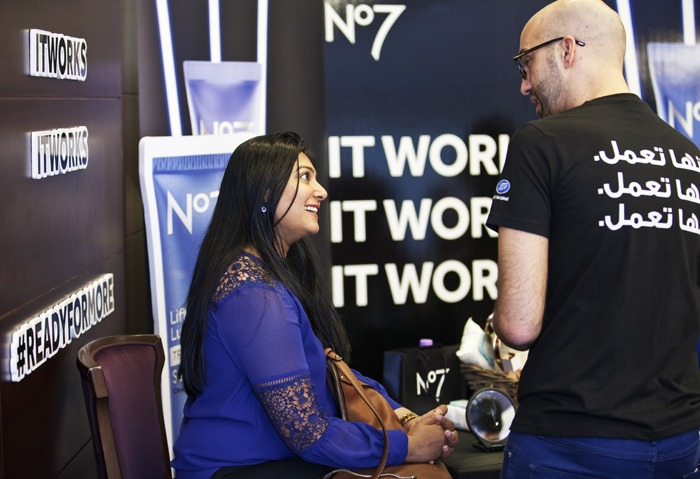 We had the great guys from #BootsMiddleEast join us, giving visitors their own No7 goodie bag