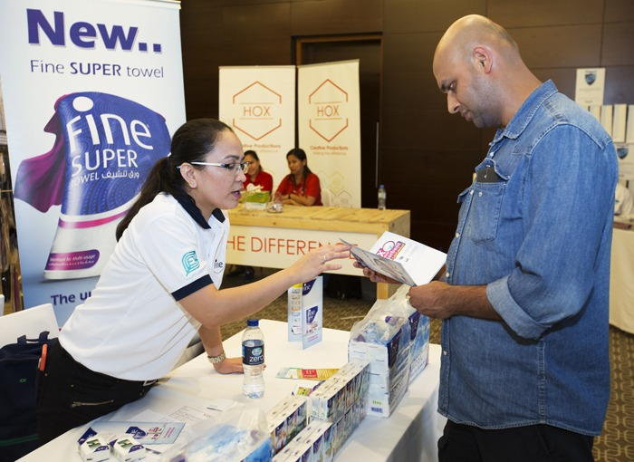 The team from Fine were giving away boat loads of tissues to visitors to the event