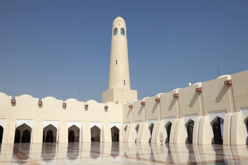 The State Grand Mosque has a mixture of modern and traditional Arabic architecture.
