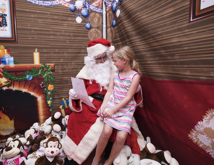 Sharing her Christmas list with Santa...