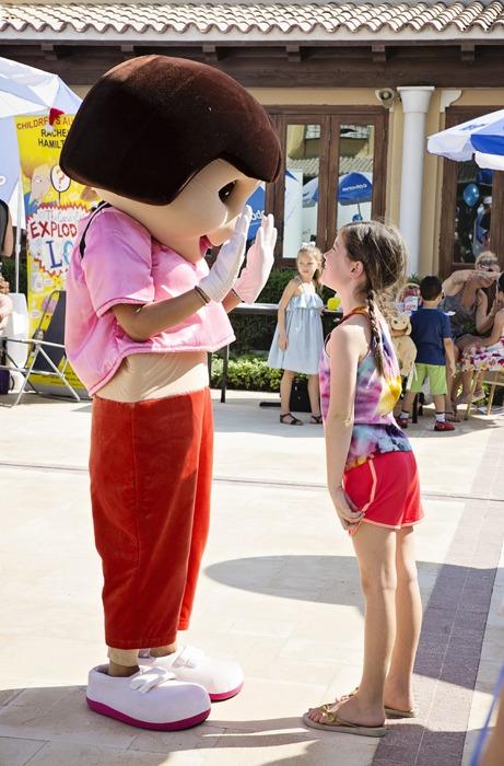 Saying hi to Dora!