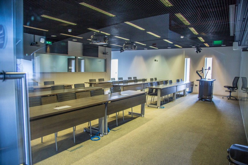 Classrooms in Northwestern University in Qatar's new building.
