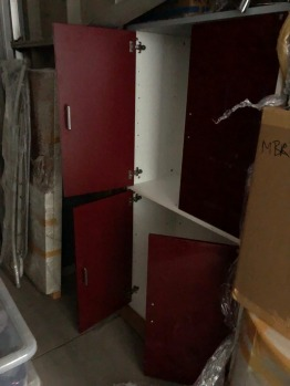 Dark red lacquer doors cabinet
