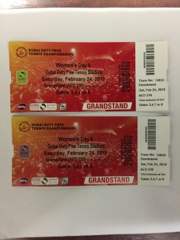 2 tickets for the women's final at the DUBAI DUTY FREE TENNIS CHAMPIONSHIPS
